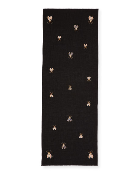 Image 2 of 2: K Janavi Flies Embellished Cashmere Scarf