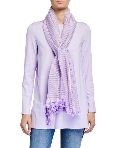 Hand-Loomed Organic Cotton/Silk Scarf w/ Pompoms