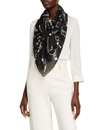 Chain Burst Silk-Wool Scarf