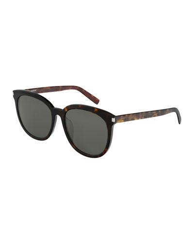 Slim Round Acetate Sunglasses
