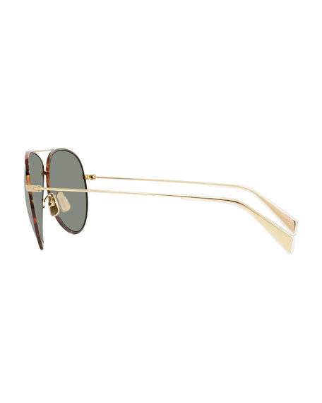 Image 3 of 3: Metal Aviator Sunglasses
