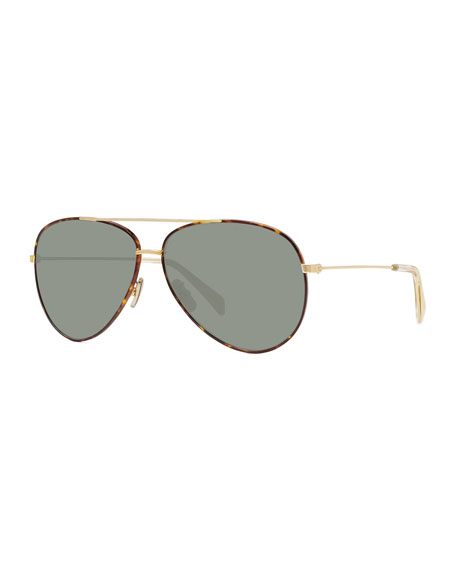 Image 1 of 3: Metal Aviator Sunglasses