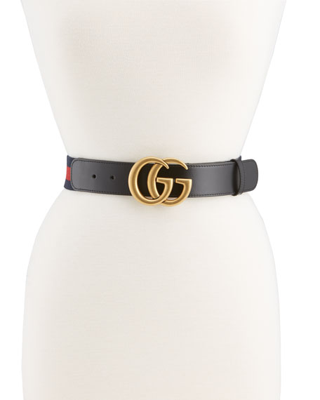 Gucci Wide Leather/Web Belt