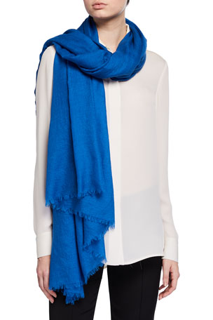 Akris Cashmere/Silk Scarf with Fringe