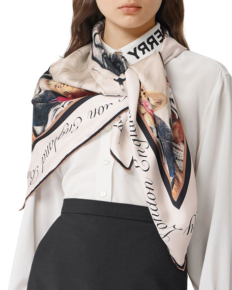 Image 2 of 5: Burberry Animal Portraits Silk Twill Scarf