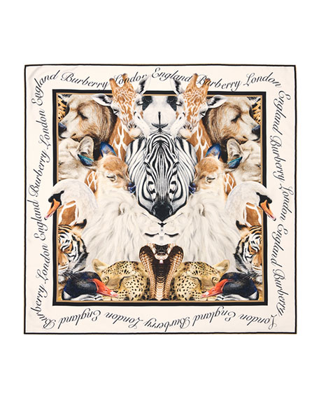 Image 3 of 5: Burberry Animal Portraits Silk Twill Scarf