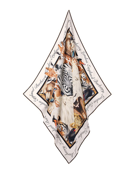 Image 4 of 5: Burberry Animal Portraits Silk Twill Scarf