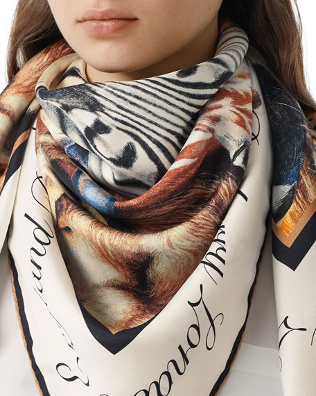 Image 1 of 5: Burberry Animal Portraits Silk Twill Scarf