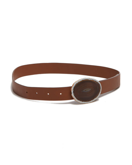 Gabriela Hearst Thin Agate-Buckle Belt