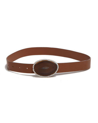Thin Agate-Buckle Belt