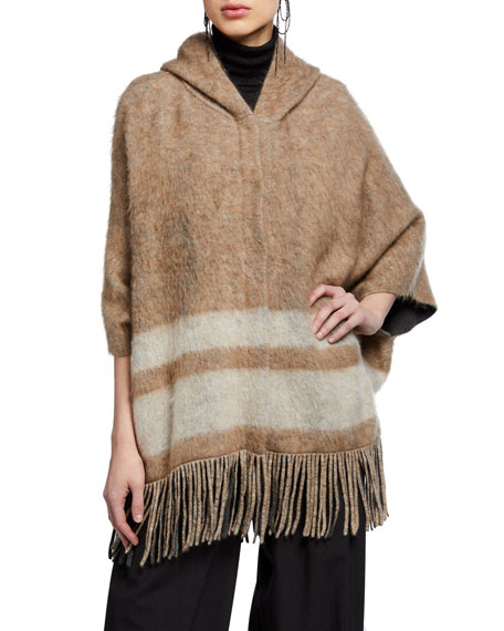 Brunello Cucinelli Wool-Mohair Striped Poncho