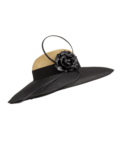 Braid Metallic Large Brim Hat w/ Leather Flower