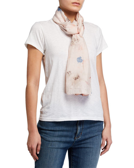 Image 1 of 2: Eileen Fisher Garden Print Natural Dyed Silk Scarf