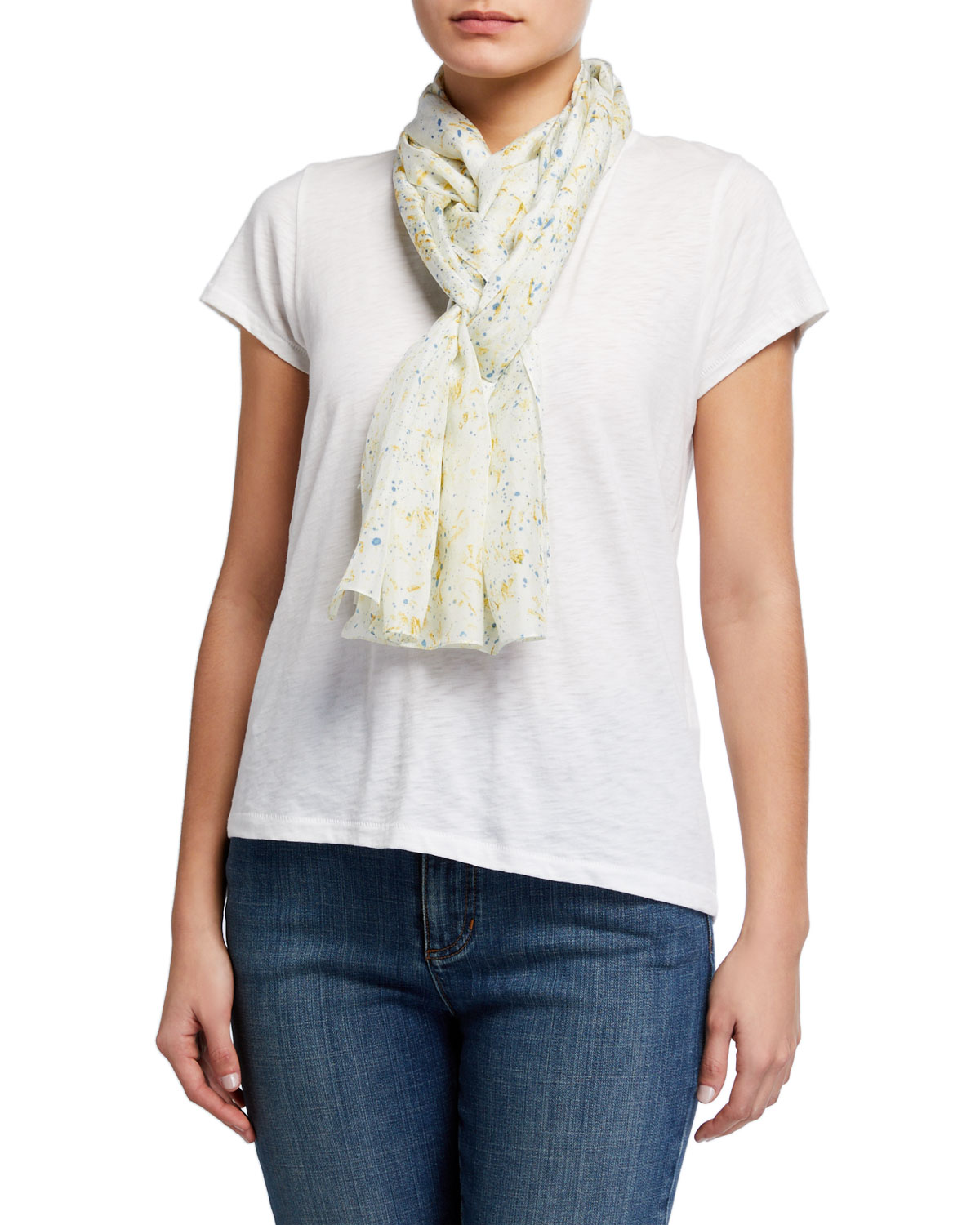 Eileen Fisher Splash Print Natural Dyed Silk Scarf