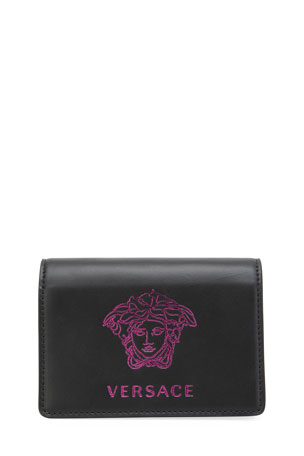 Versace Medusa Leather Crossbody Card Case