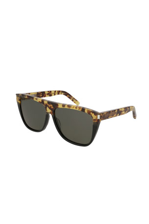 Saint Laurent Rectangle Acetate Sunglasses