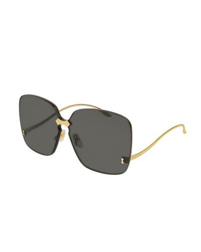 Rimless Square Low-Temple Sunglasses
