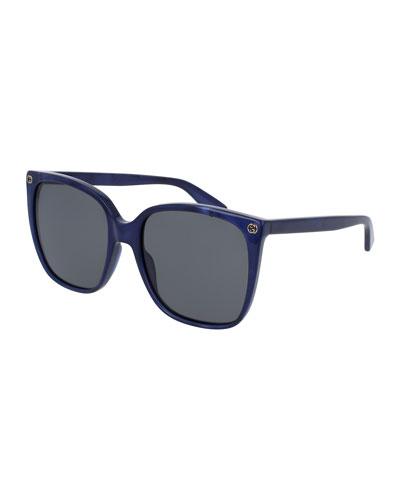 Square Acetate Sunglasses w/ Interlocking G Detail
