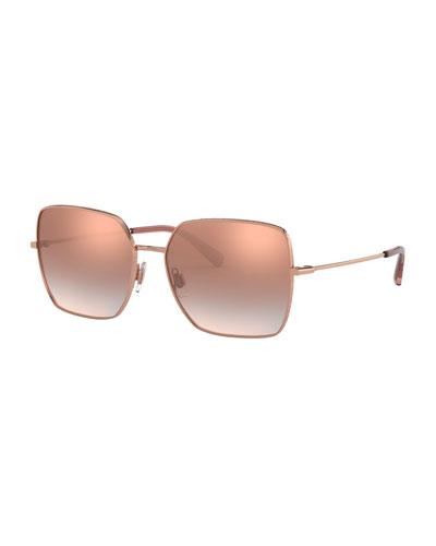 Square Metal Logo-Rim Sunglasses