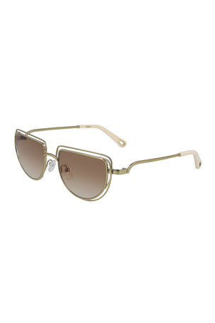 Chloe Carlina Half-Moon Sunglasses