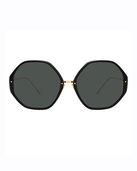 Image 2 of 3: Round Acetate & 18k Plated Sunglasses