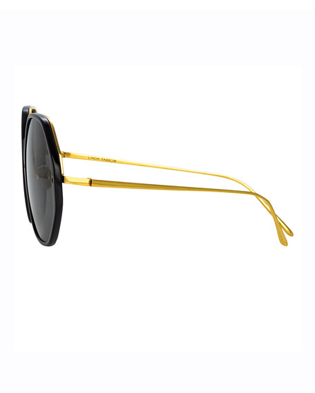 Image 3 of 3: Round Acetate & 18k Plated Sunglasses