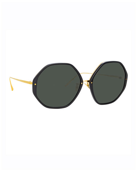 Image 1 of 3: Round Acetate & 18k Plated Sunglasses