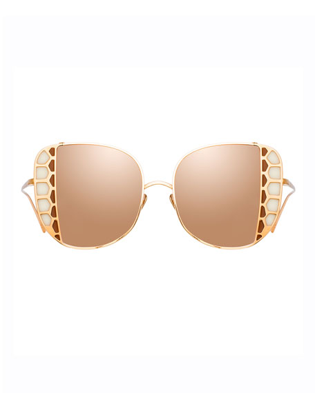 Image 2 of 3: Linda Farrow Amelia 18K Rose Gold Stained Glass Butterfly Sunglasses