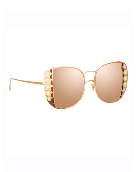 Image 1 of 3: Linda Farrow Amelia 18K Rose Gold Stained Glass Butterfly Sunglasses