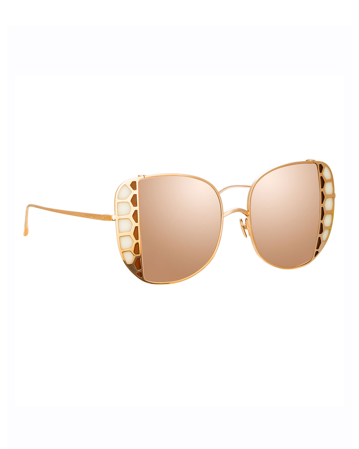 Linda Farrow Amelia 18K Rose Gold Stained Glass Butterfly Sunglasses