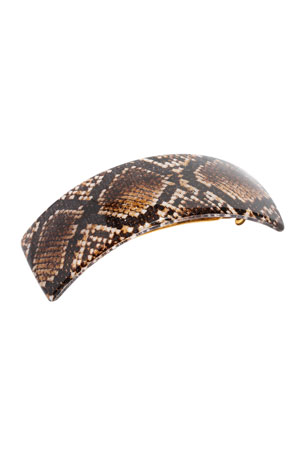 France Luxe Snakeskin Print Rectangle Volume Barrette
