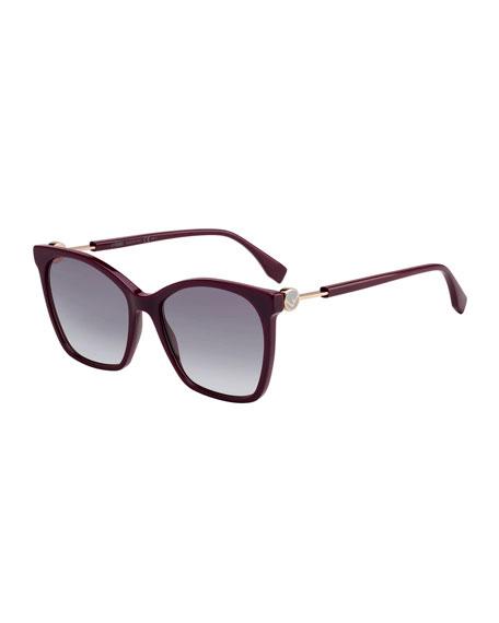 Fendi Rectangle Acetate & Metal Gradient Sunglasses
