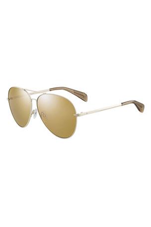 Rag & Bone Mirrored Metal Aviator Sunglasses