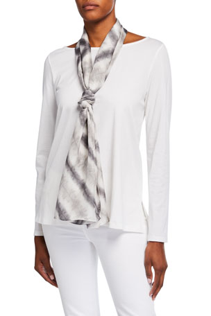 Eileen Fisher Prism Print Crinkled Silk Scarf