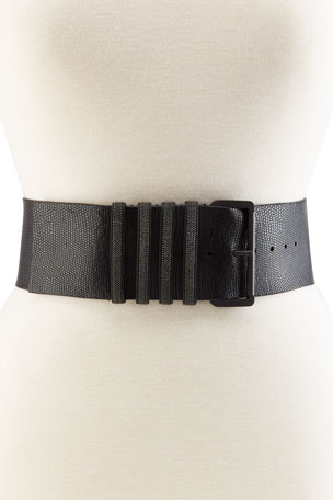 Brunello Cucinelli Wide Textured Leather Belt With Monili Loops