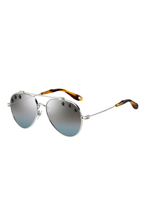 Givenchy Mirrored Rubber Star Aviator Sunglasses