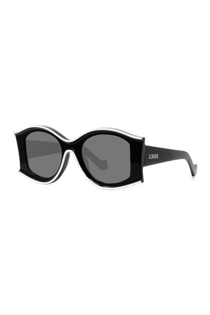 Loewe Two-Tone Acetate Inset Round Sunglasses