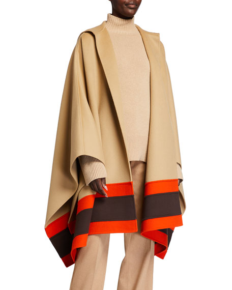 Image 2 of 3: Michael Kors Collection Hooded Striped-Border Wool Cape