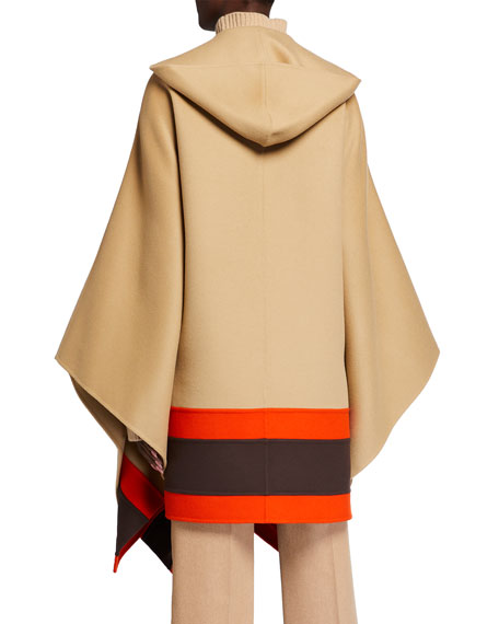 Image 3 of 3: Michael Kors Collection Hooded Striped-Border Wool Cape