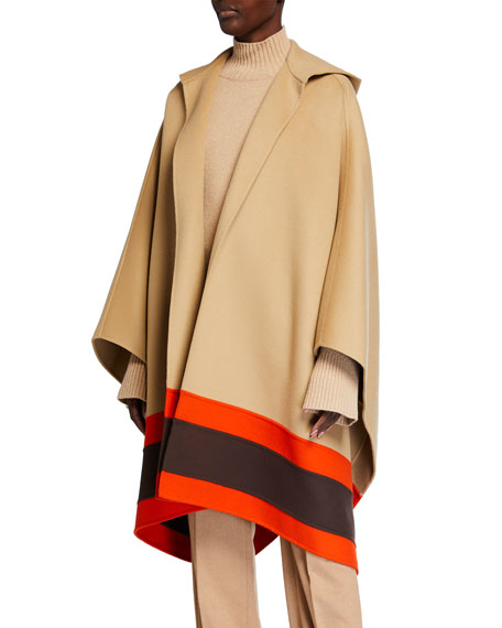 Image 1 of 3: Michael Kors Collection Hooded Striped-Border Wool Cape