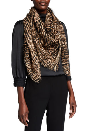 Saint Laurent Leopard Fringe Wool Scarf