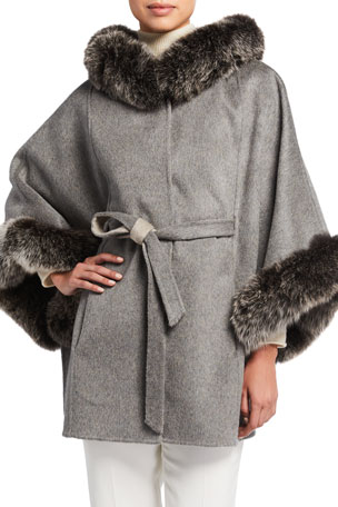 La Fiorentina Reversible Wool Cape with Removable Fur Trim