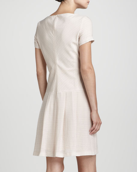 Ottoman-Striped Full-Skirt Dress