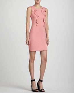 Rena Lange Ruffle-Front Square-Neck Dress