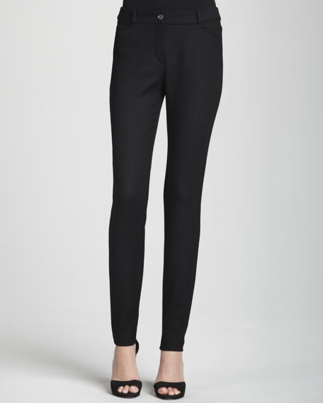 Button-Front Stretch-Wool Leggings