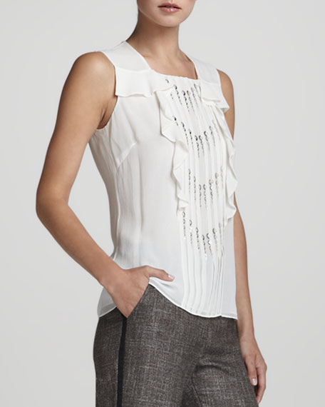 Sleeveless Sequin-Placket Ruffle-Front Blouse