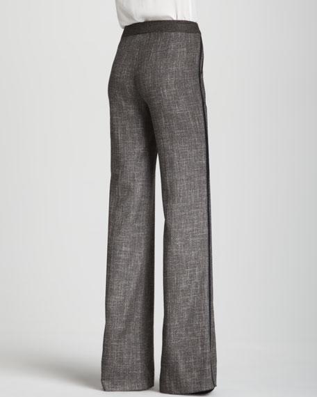 Straight-Leg Tweed Tuxedo Pants