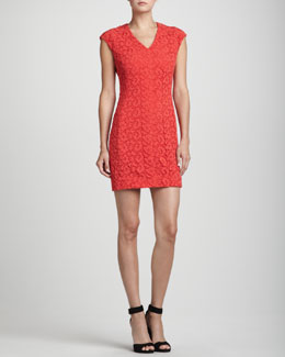 Rena Lange Lace-Overlay Cap-Sleeve Cotton Dress