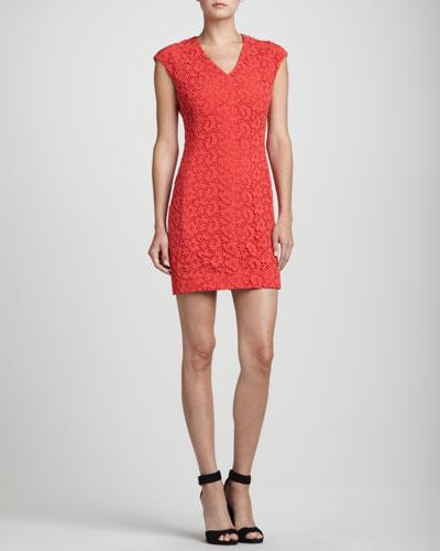 Rena Lange Lace-Overlay Cap-Sleeve Cotton Dress