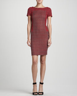 Rena Lange Lace-Overlay Tweed Dress